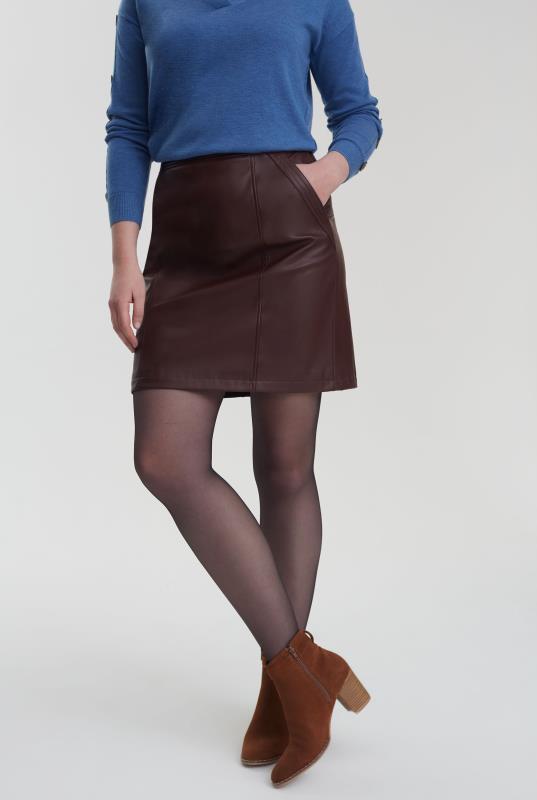 Burgundy Vegan Leather Skirt