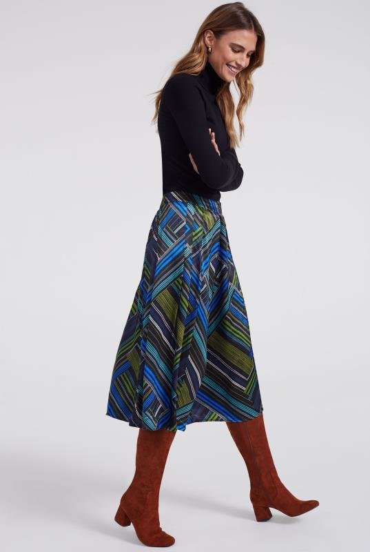 Blue Cut About Print Skirt
