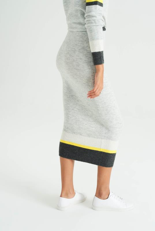 Wool Mix Stripe Co-ord Knitted Skirt