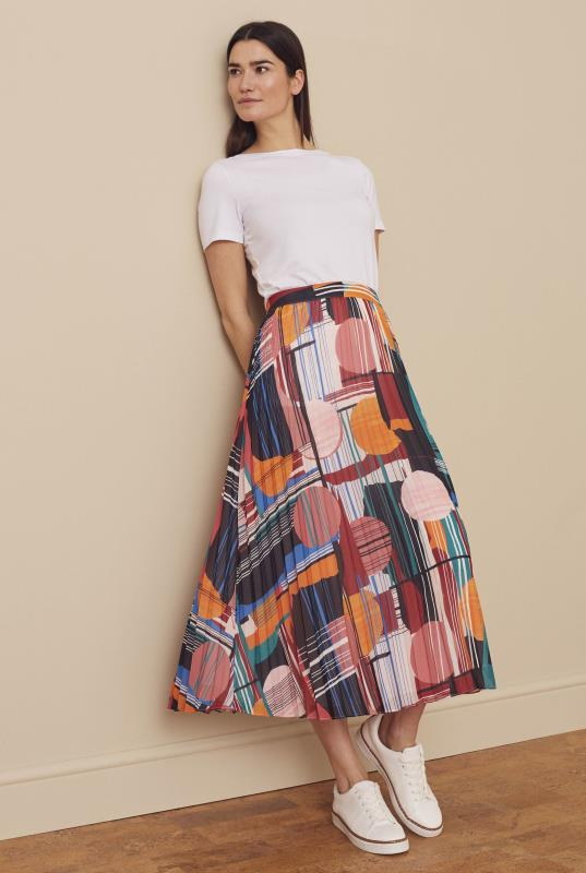 Bright Mixed Print Pleated Skirt