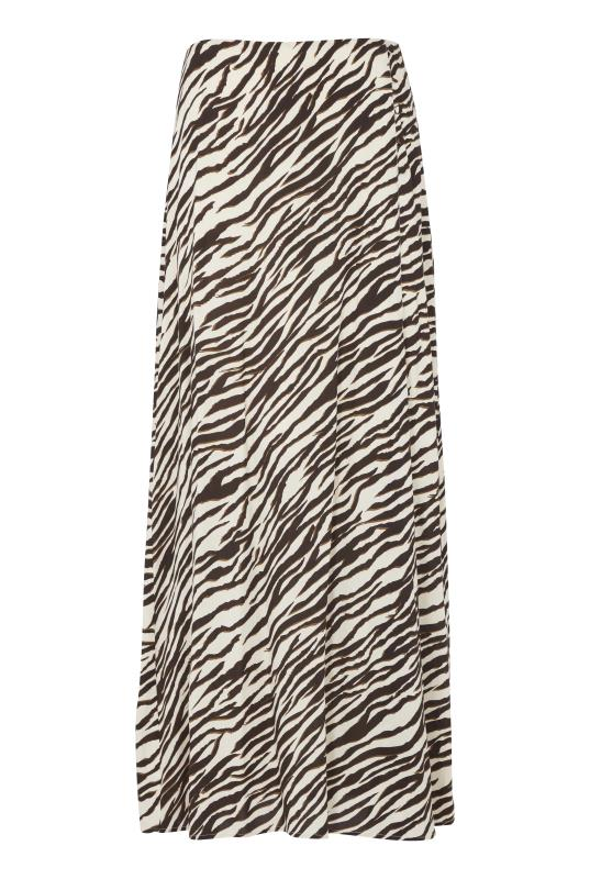 Brown Animal Print Button Side Maxi Skirt