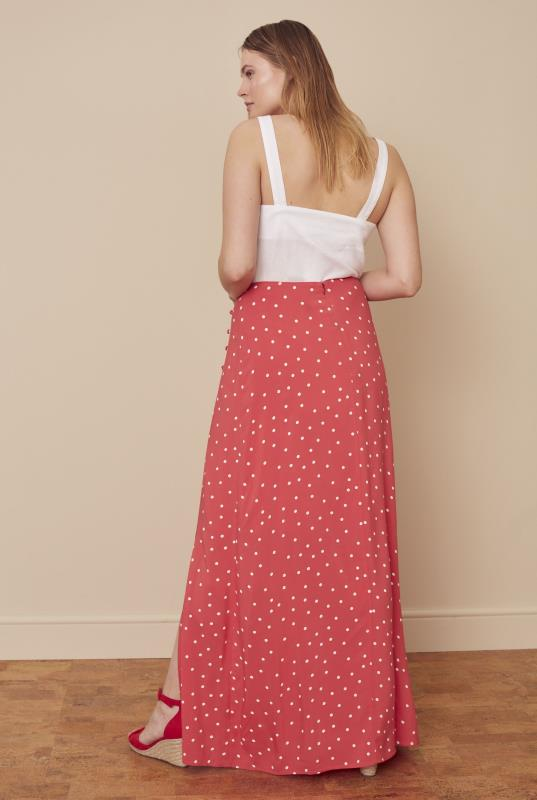 Printed Button Side Maxi Skirt