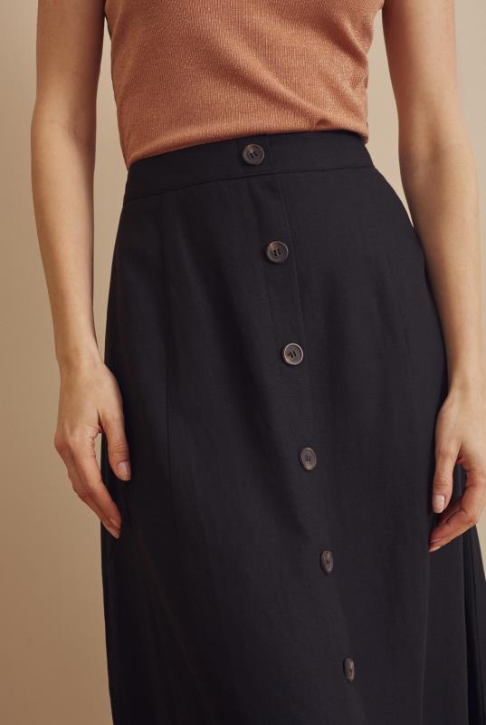 Black Button Front Linen Blend Skirt
