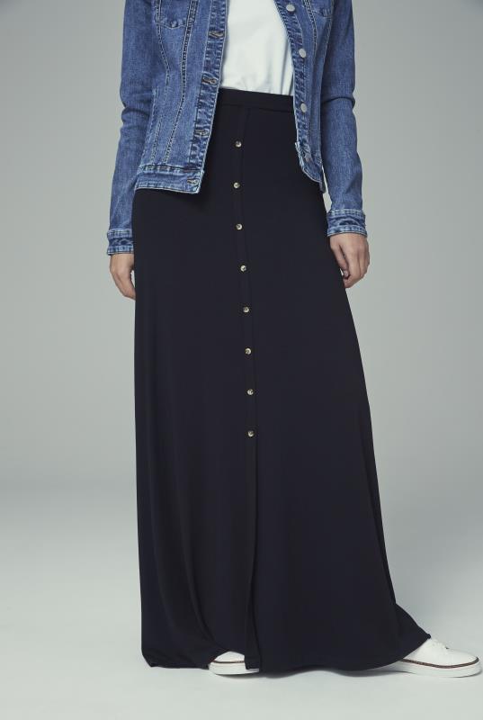 Tall Skirts Button Front Jersey Maxi Skirt