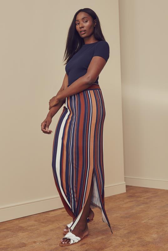 Brick Stripe Jersey Maxi Skirt