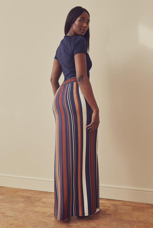 Stripe Print Maxi Essential Jersey Skirt
