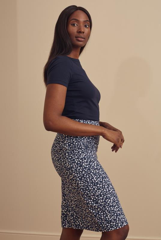 Blue Cotton Printed Pencil Skirt