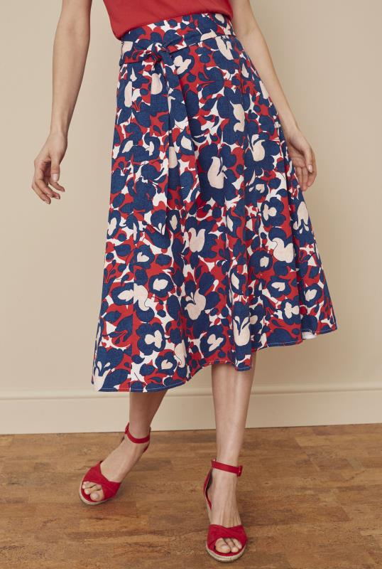 Abstract Floral Tie Front Printed Cotton Skirt
