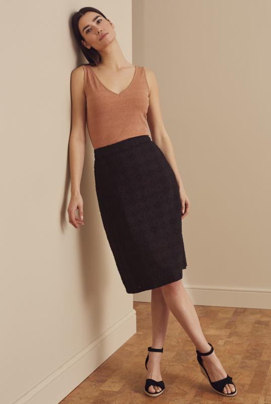 Black Broderie Pencil Skirt