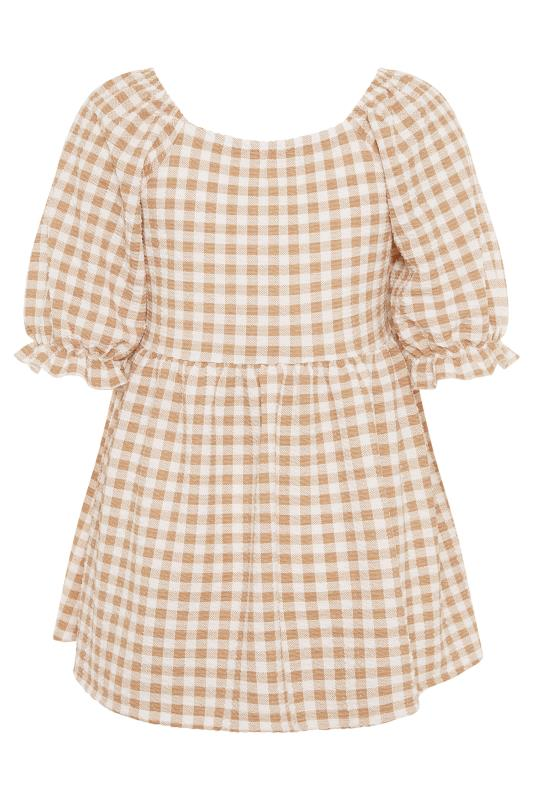 BUMP IT UP MATERNITY Ivory Gingham Square Neck Top_BK.jpg
