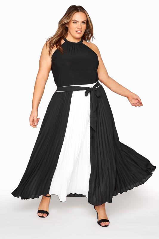 Plus Size  YOUR LONDON Black Colour Block Pleated Maxi Skirt