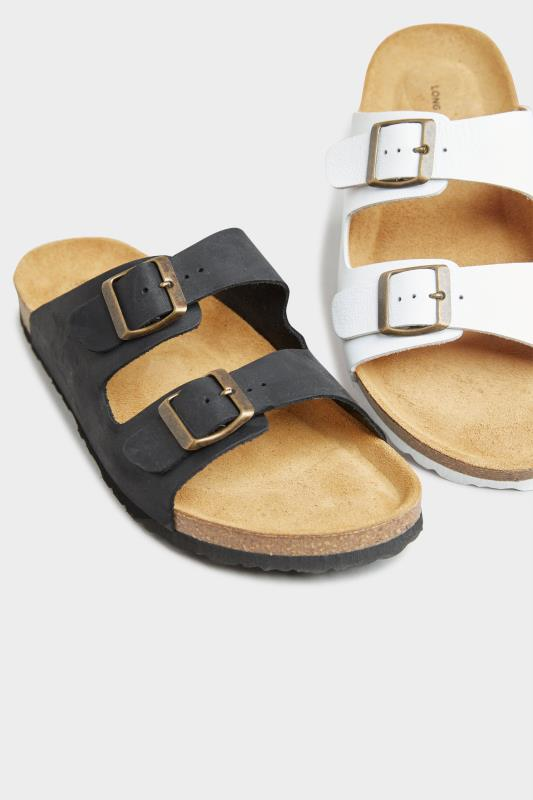 White Leather Two Buckle Footbed Sandals_F.jpg