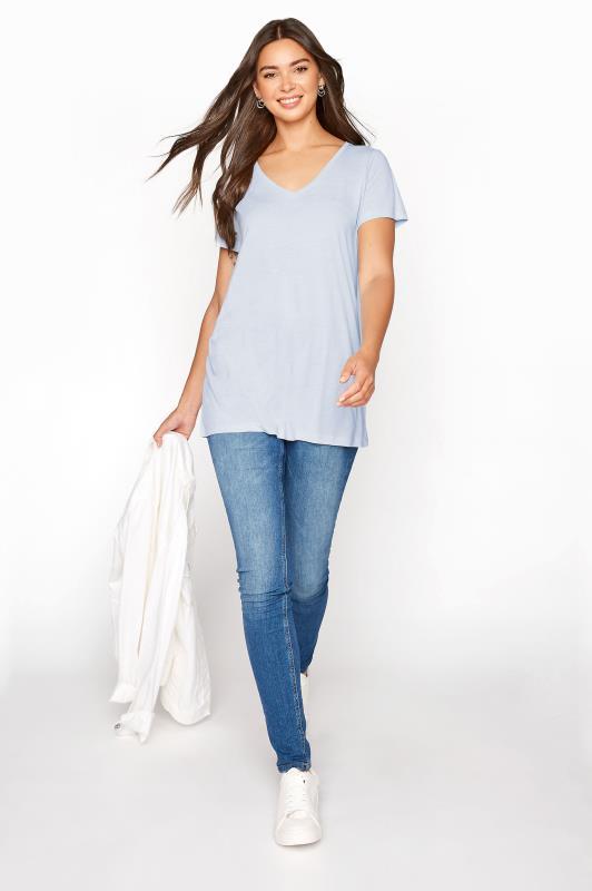 LTS Blue Linen Blend V-Neck T-Shirt