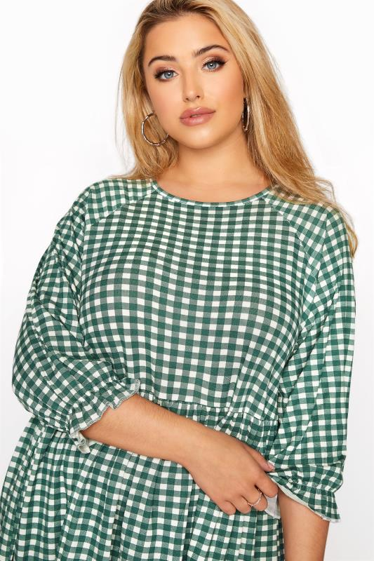 LIMITED COLLECTION Green & White Gingham Smock Top_D.jpg