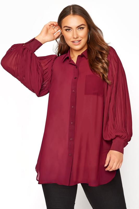 YOURS LONDON Burgundy Pleat Sleeve Shirt_RA.jpg