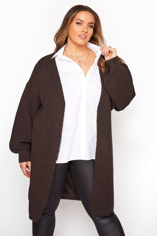 Plus Size  Mocha Brown Oversized Balloon Sleeve Knitted Cardigan