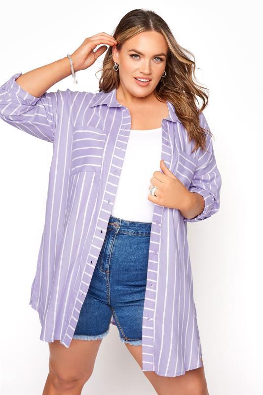 Lilac Striped Oversized Drop Shoulder Shirt