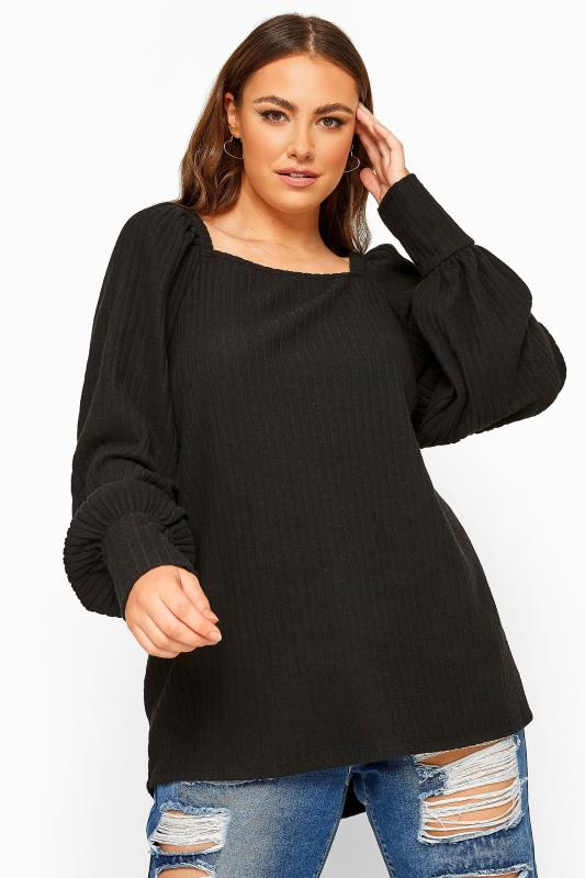 Plus Size  Black Ribbed Square Neck Knitted Top
