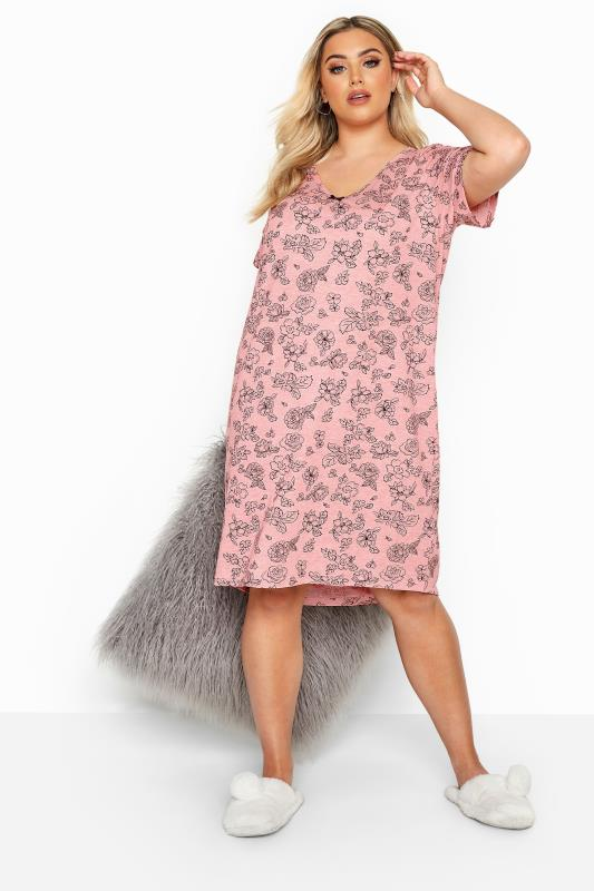 Plus Size Nightdresses & Chemises Pink Glitter Floral Nightdress
