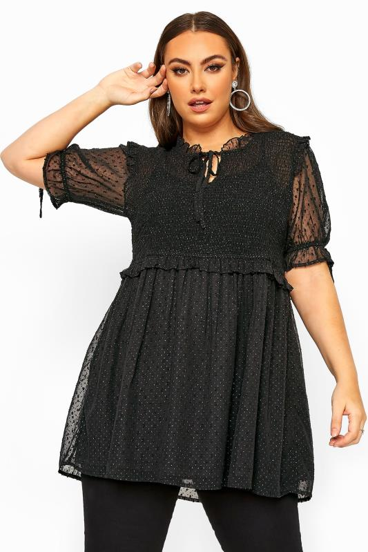 Plus Size  LIMITED COLLECTION Black Shirred Sparkle Peplum Top