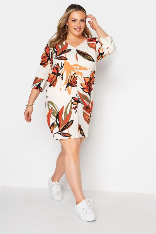 Plus Size  Cream Floral V-Neck Shift Dress