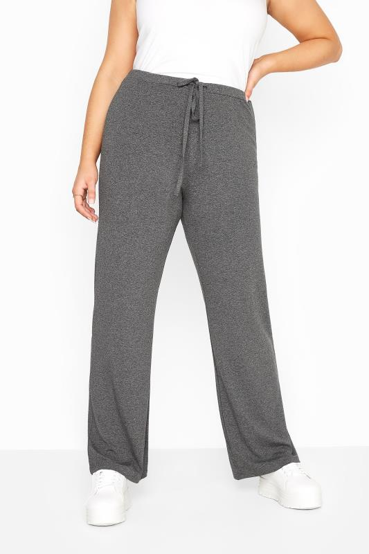 Plus Size  Charcoal Grey Wide Leg Pull On Stretch Jersey Yoga Pants