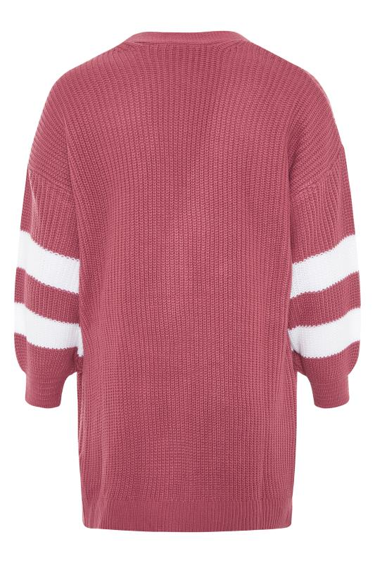 Pink Varsity Stripes Knitted Cardigan_BK.jpg