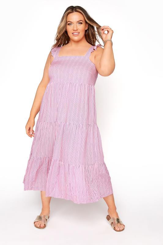 YOURS LONDON Pink Stripe Frill Tiered Midi Dress_A.jpg