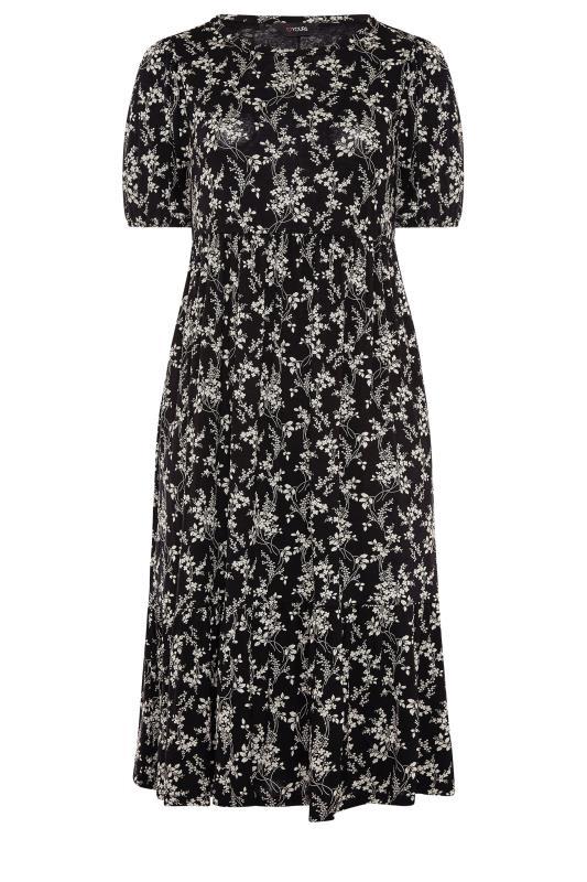 Black Floral Frill Hem Short Sleeve Dress_F.jpg