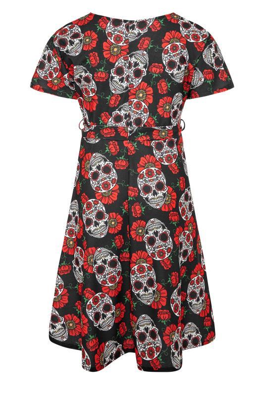 YOURS LONDON Black Mexican Skull Wrap Halloween Midi Dress_BK.jpg