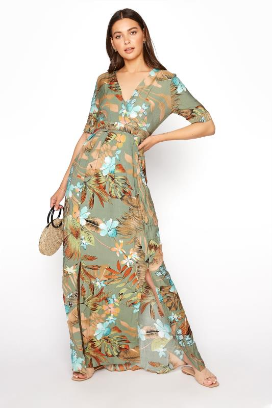 LTS Green Tropical Wrap Front Maxi Dress