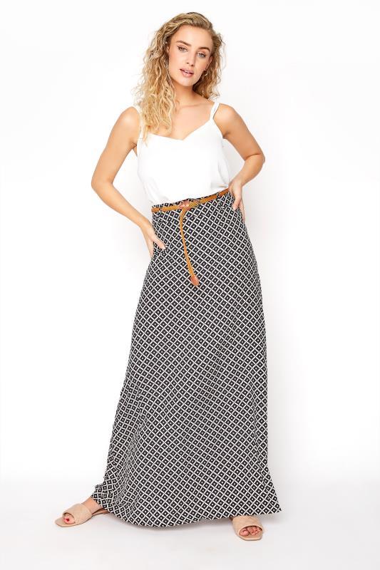 LTS Black Geometric Maxi Skirt