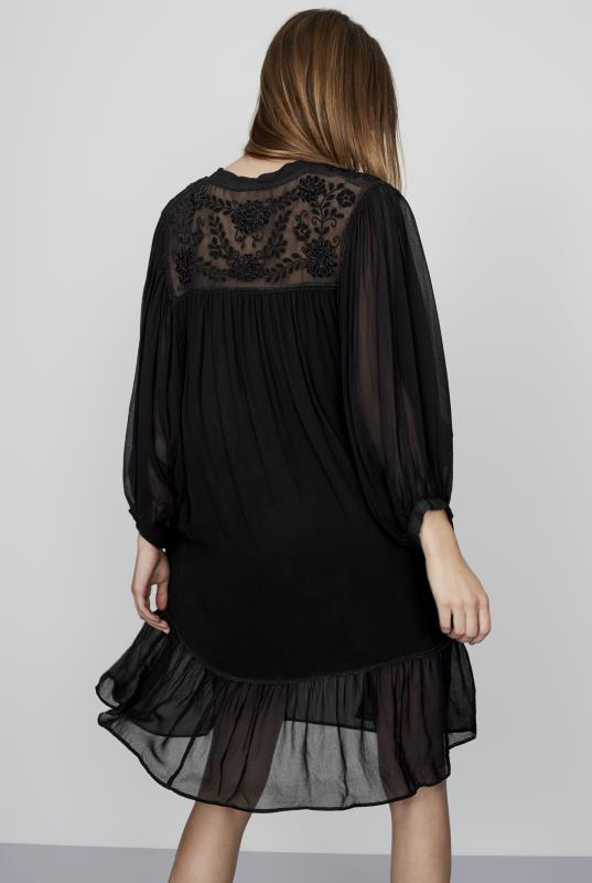 CURATD. x LTS Black Embroidered Frill Detail Dress