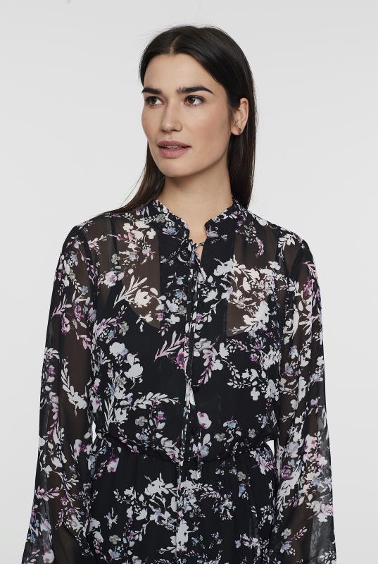 Black Floral Ruffle Dress