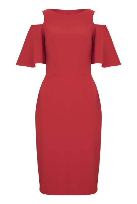Red Cold Shoulder Shift Dress