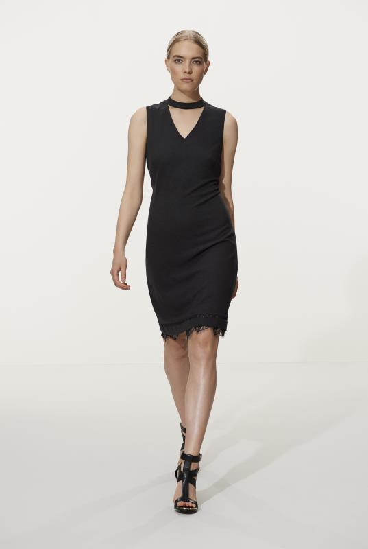 Tall Fit and Flare Dress Karl Lagerfeld Choker and Lace Trim Dress