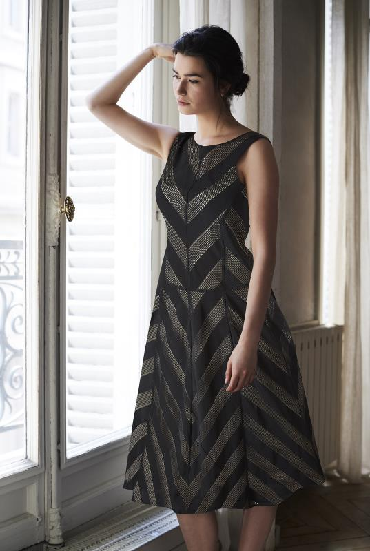 Black Chevron Stripe Overlay Dress
