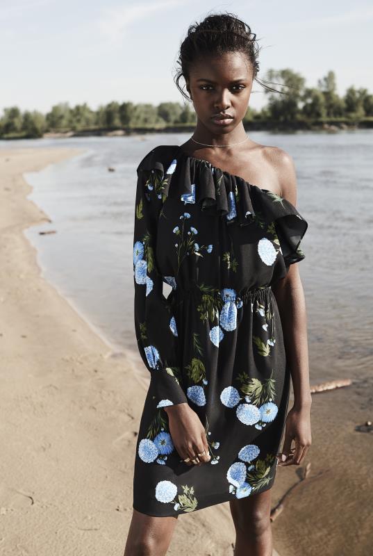 CURATD. x LTS Black Floral One Shoulder Frill Dress