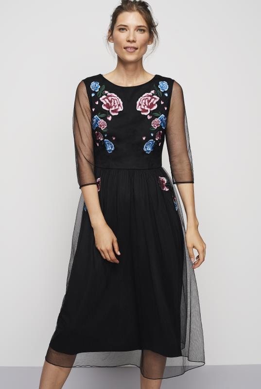 Tall Fit and Flare Dress Embroidered Mesh Dress