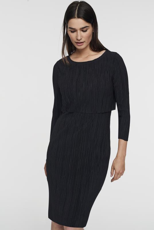 Black Overlay Plisse Straight Dress