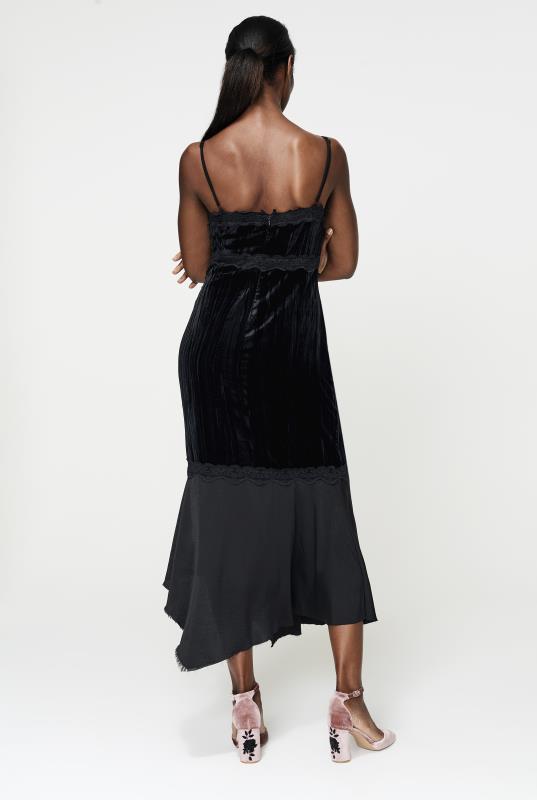 CURATD. x LTS Black Lace Trim Velvet Dress