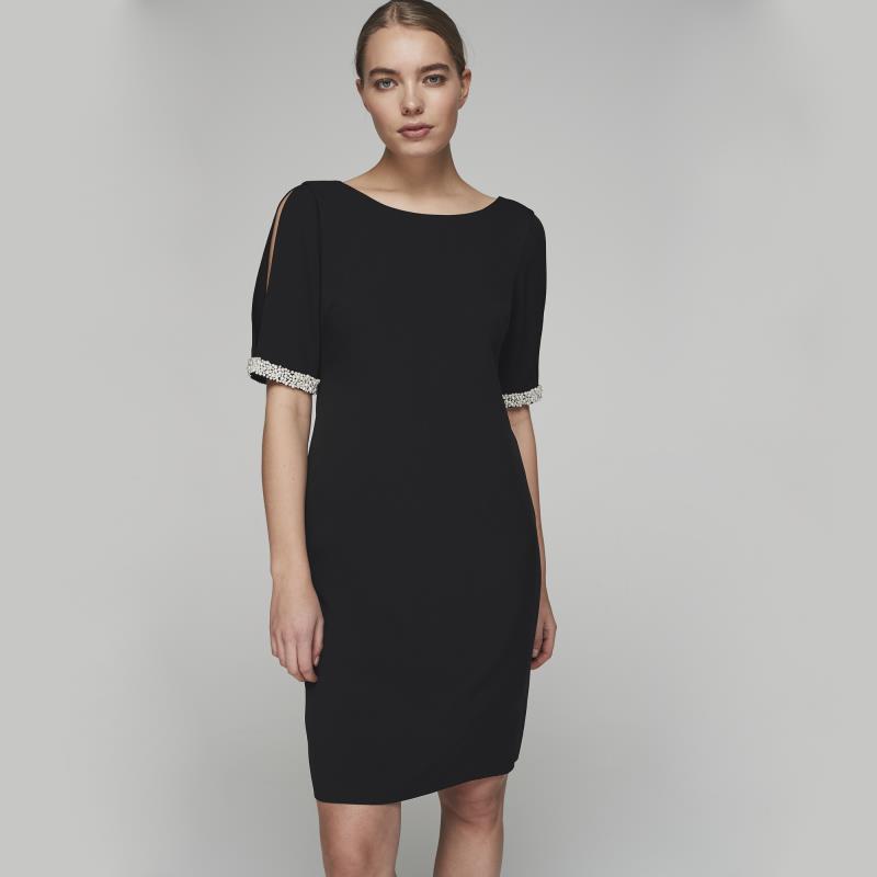 Karl Lagerfeld Paris Split Sleeve Pearl Trim Dress