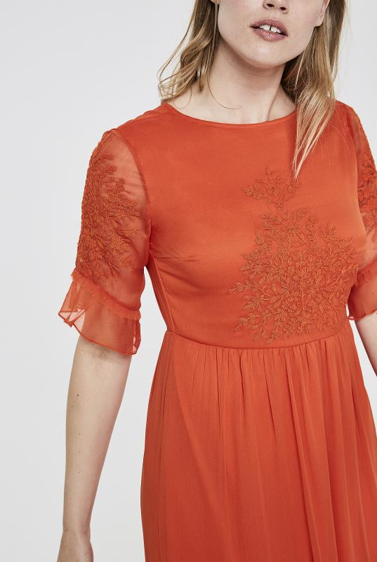 Y.A.S Tall Orange Field Embroidered Maxi Dress