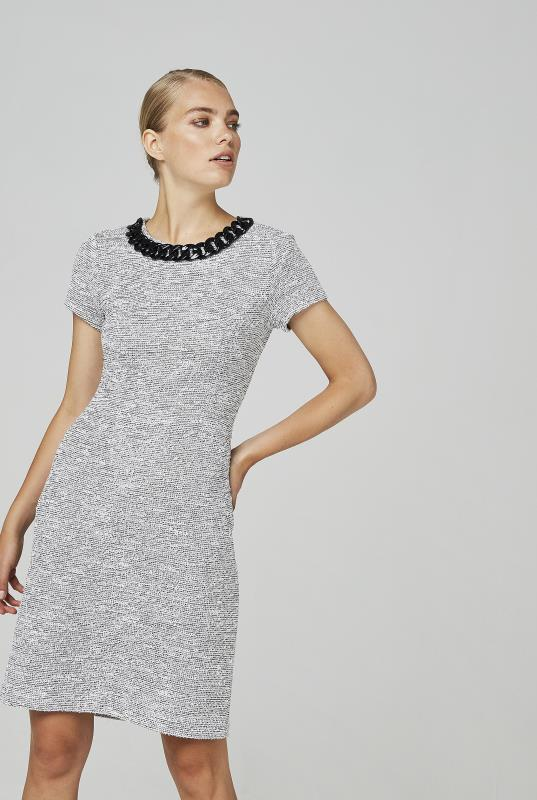 Karl Lagerfeld Paris Grey Necklace Detail Dress