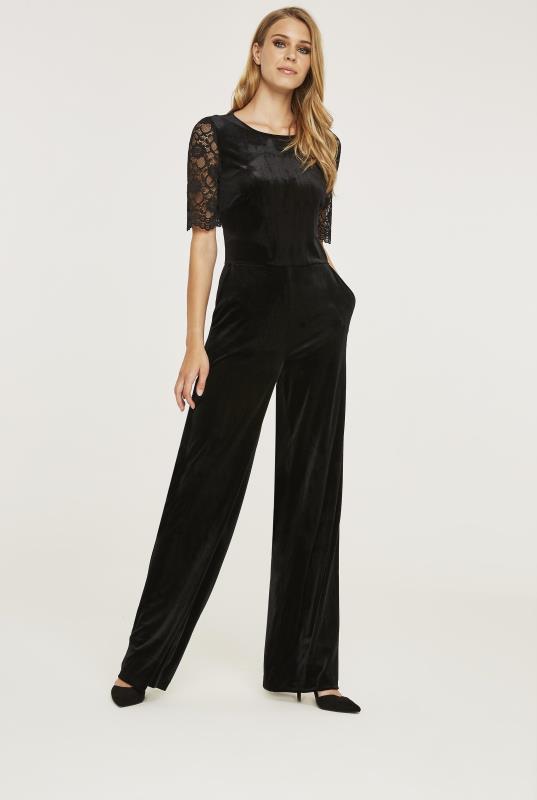 Wide Leg Velvet Jumpsuit with Lace