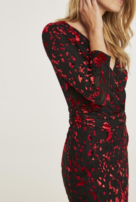 Flocked Burn Out Wrap Dress