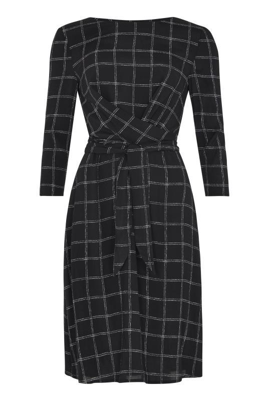 Black Twist Detail Check Woven Dress