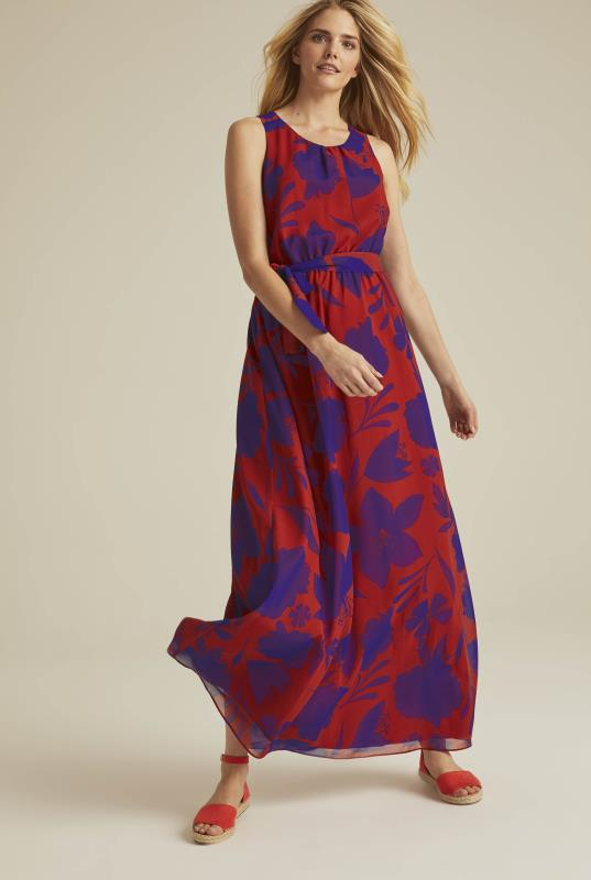 Red Shadow Floral Woven Maxi Dress