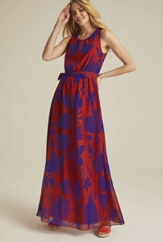 Tall Shift Dress Red Shadow Floral Woven Maxi Dress