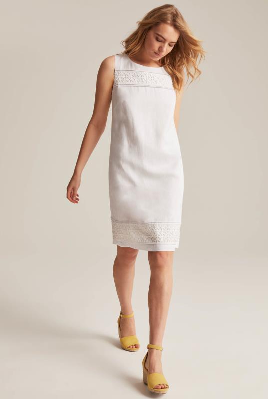 White Linen Shift Dress with Lace Trim